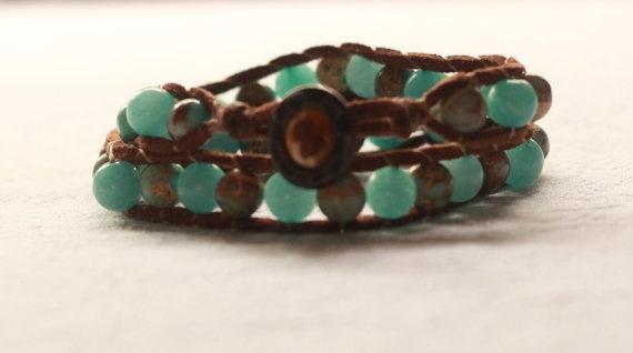 Blue double wrap bracelet by TipToeTulipJewellery on Etsy, $50.00