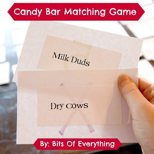 Last year I was in charge of our family reunion. I was looking for some fun games and came across this idea to make a candy bar matching game. Everyone loved it and they all got a treat too! Here is what I did. Make a list of candy bars and their match, like this: …