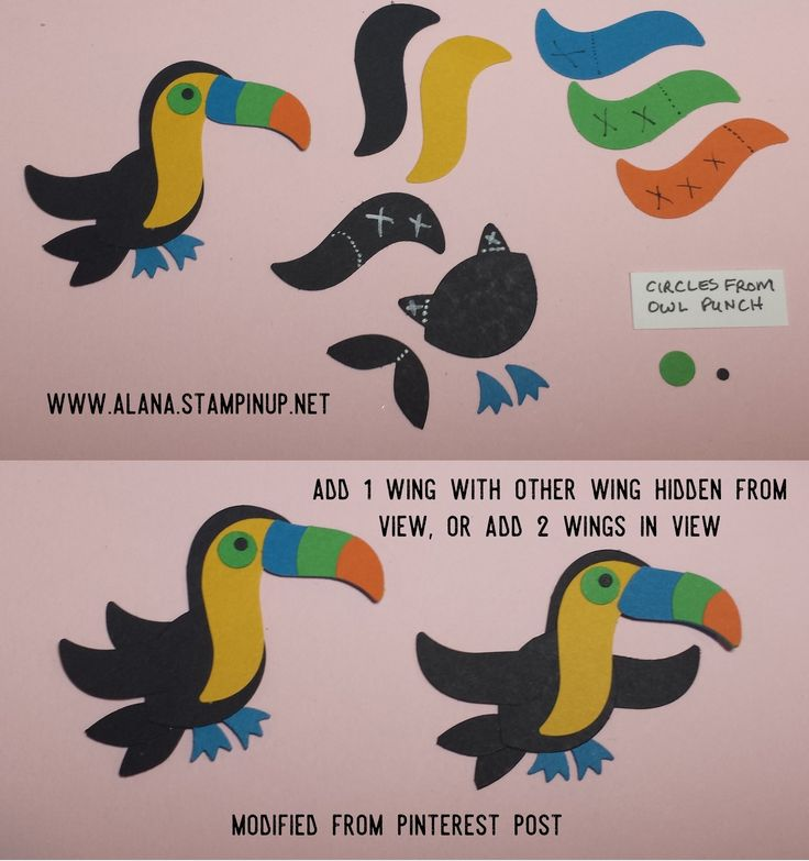 Toucan Bird Punch Art. Using Foxy Friends Stamp Set & Foxy Builder Punch from Stampin' Up!