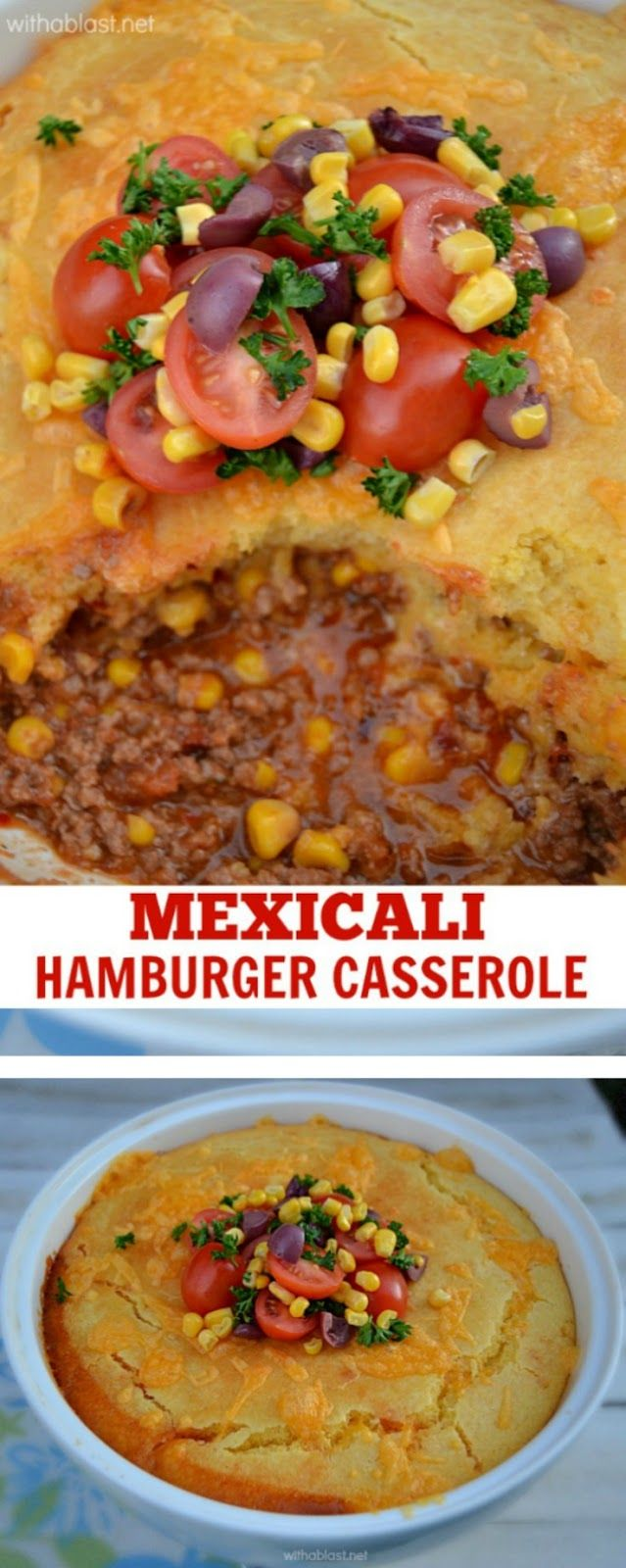 Mouthwatering Mexicali Hamburger Casserole with a cornbread topping ~ Click image to find more popular food & drink Pinterest pins