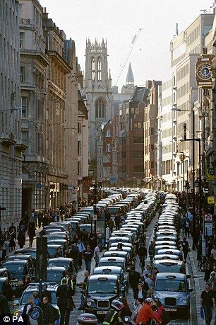Black cab drivers complain that the number of minicabs has increased by a quarter over the...
