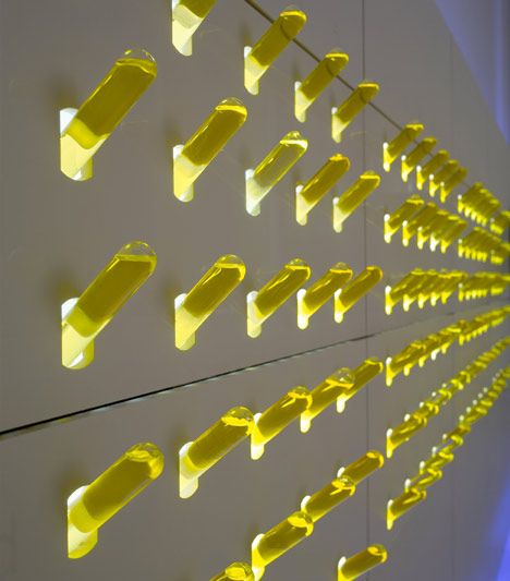 """(priapic) """"Test tubes of olive oil line one wall of this high-tech workshop designed for Michelin-starred chef Paco Roncero by Spanish studio Carmen Baselga Taller de Proyectos.""""  On one level this is upitsownarsery, on another...: Projects, Olives Oil, Olive Oils, Test Tube, 8Cbaselgaproncerojpg 8001066, Wall Design"""