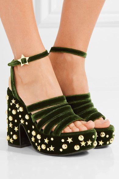 MR by Man Repeller - Lol If You Think I'm Walking Embellished Velvet Platform Sandals - Army green - IT