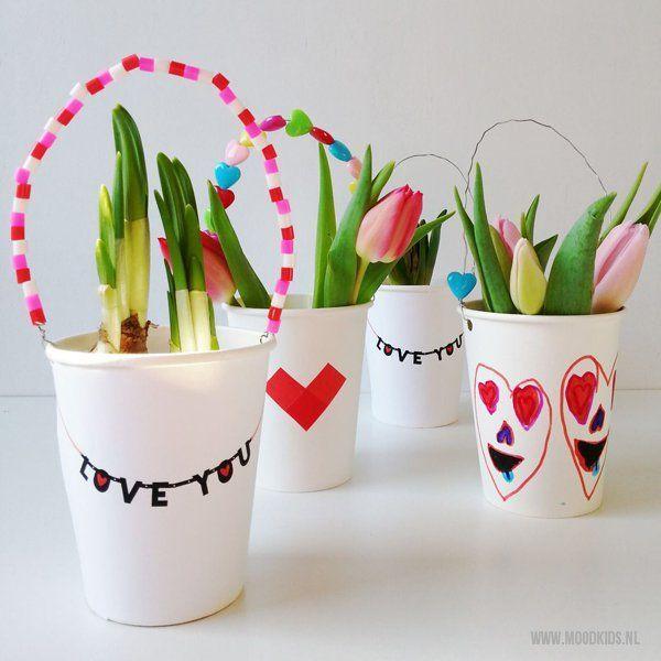 Maak zelf een plantenhanger vol liefde (met gratis printable) voor je Valentijn. Of straks voor moederdag - Moodkids