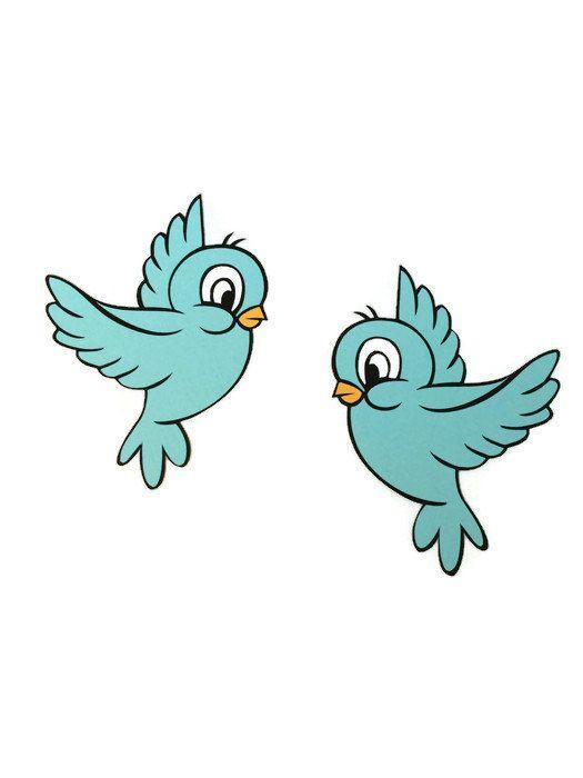 2 CT Blue Bird Die Cuts  Cinderella  Snow White  by PaperKorner