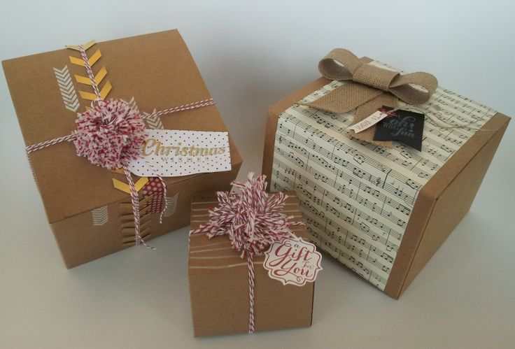 Simple toppers make your gifts stand-out.  As seen on Good Things Utah! http://s.tamp.in/1erFhPF: Card Stamps, Su Gifts, Creative Idea, Christmas Boxes, Gifts Wraps, Bonnierodriguez Stampinup Net, Packaging Idea, Gifts Boxes, Wraps Christmas
