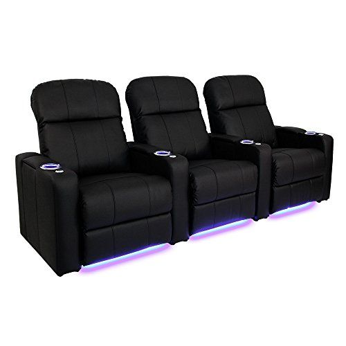 Seatcraft Venetian Black Bonded Leather Home Theater Seating  Row of 3 Seats  Manual Recline *** Be sure to check out this awesome product.