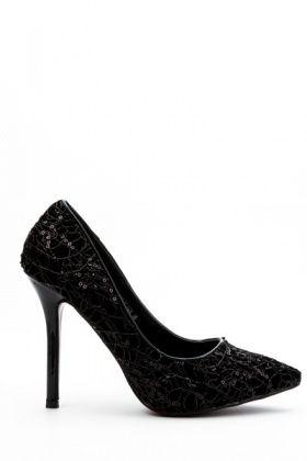 Embellished Metallic Court Shoes