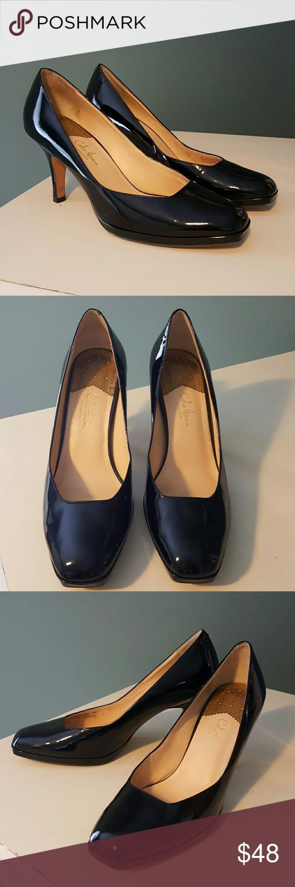 COLE HAAN *Chelsea* Black Patent Heel/Shoe Cole Haan classic black patent dress heels. These shoes are so classy! Nike Air sole for ultimate comfort. Size 10B. Heels measure 3-1/2. There are some numbers written on the sole. Cole Haan Shoes Heels