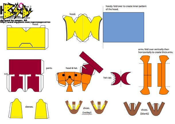 Blog Paper Toy papertoys Hoody Serie 4 BoxFoxte template preview Papertoys Hoody (Serie 4) by dmc (x 5)