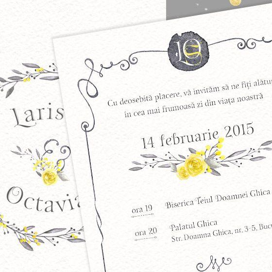 Invitatie de nunta cu flori galbene pictate - Lara