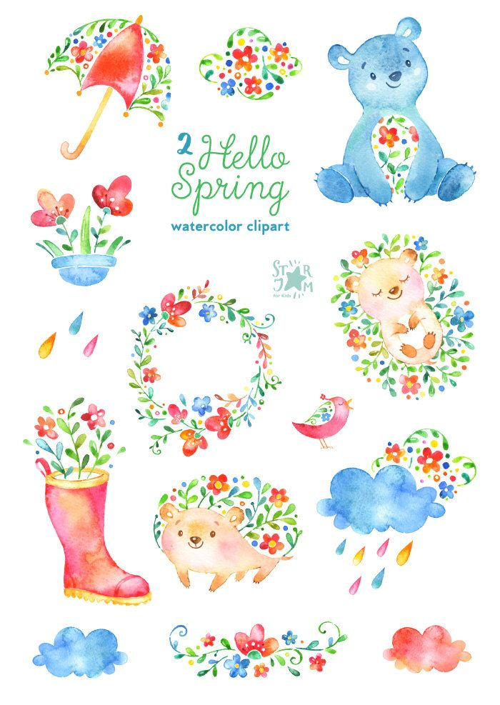 Hello Spring 2. Watercolor animals and floral clipart, hedgehog, bear, flowers, bird, umbrella, clouds, rain, boot, invite, wreath, diy