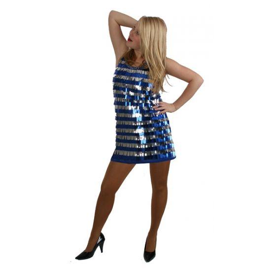 Blauw pailletten jurkje voor dames. Kort jurkje met blauwe en zilveren pailletten pijpjes. Een sexy kort jurkje met blauwe en zilveren pailletten pijpjes voor dames.