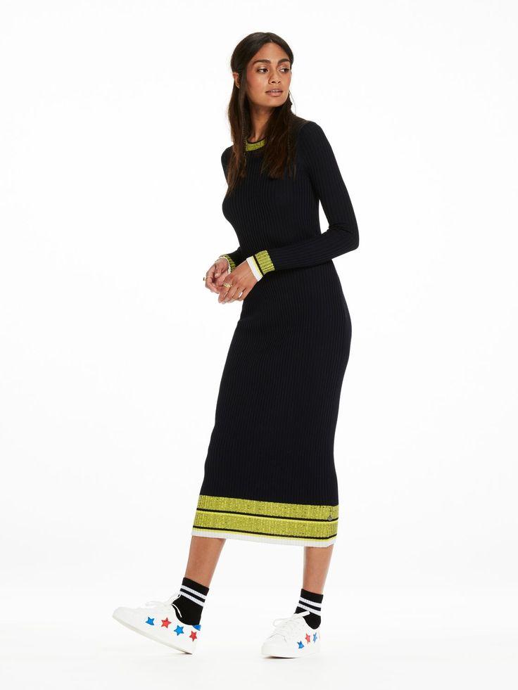 Ribgebreide midi-jurk