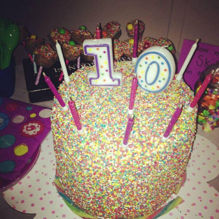 Taz's birthday cake I made - sprinkled all over - smiggle inspired theme