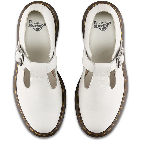 Dr. Martens Leather Polley Mary Janes ($115) ❤ liked on Polyvore featuring shoes, white, white mary jane shoes, slip resistant shoes, leather shoes, punk shoes and anti slip shoes