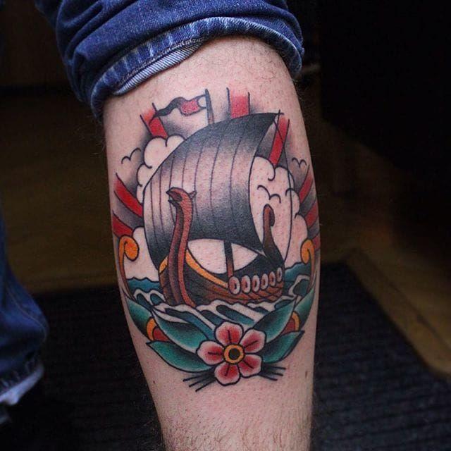 Viking Ship Tattoo by Vesko Kostov