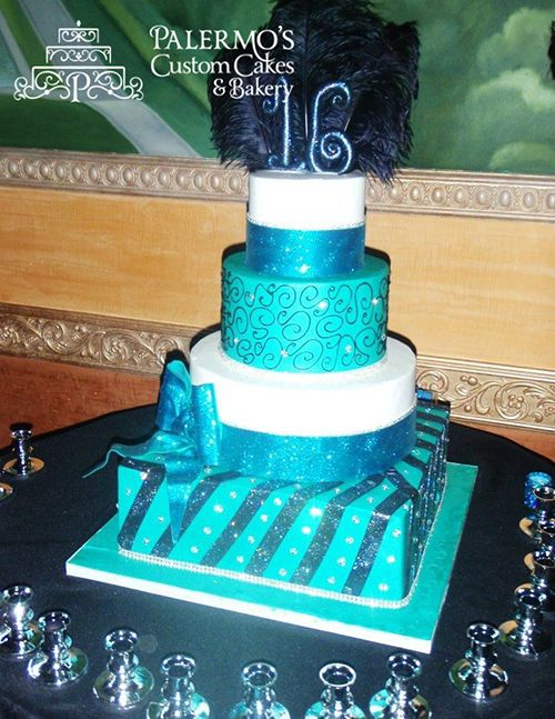 Black And Teal Jeweled Sweet 16 Specialty Cake Cakes