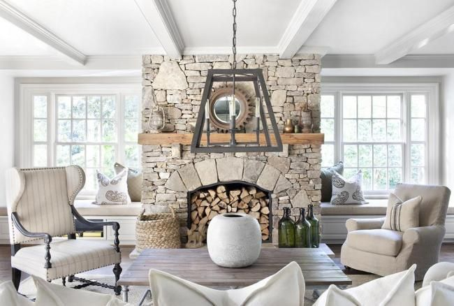 perfection  Stone fireplace, soft grays, old wood table. Ours would get lots of use. Maybe a firewood pass through next to it?