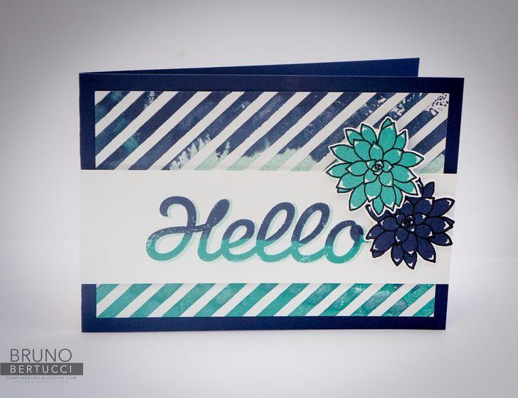 Bruno Bertucci | Stampin Up | stampinbruno | Oh So Succulent | Succulent | Diagonal Stripe | Vertical Garden | Handmade Card