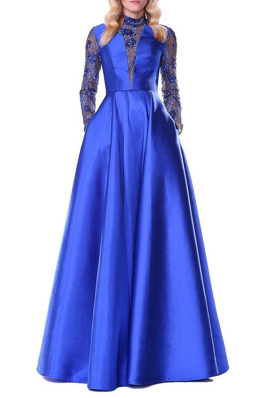 Вечернее синие платье в пол с длинными кружевными рукавами