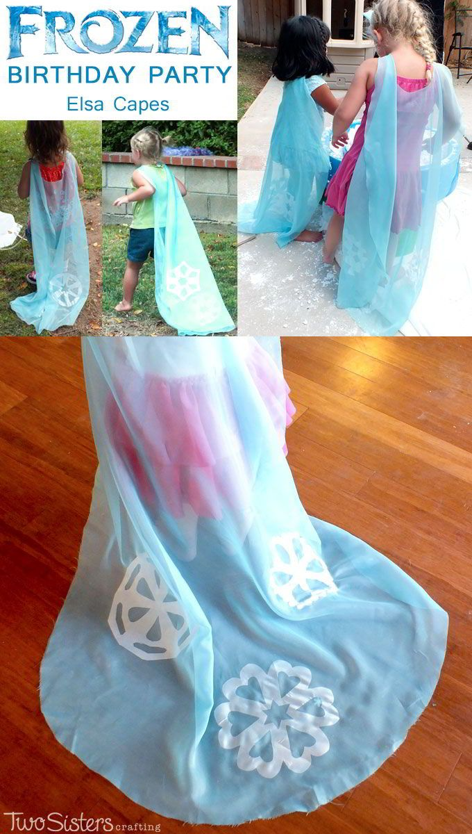 Disney Frozen DIY Elsa Capes - we made these No Sew Elsa Cape Costumes as a party favor for the girls at our Frozen Birthday Party. They LOVED them and were the hit of the party. We have all the directions on how to make these Queen Elsa Capes for your Frozen Party. And for more great Frozen Party Ideas follow us http://www.pinterest.com/2SistersCraft/