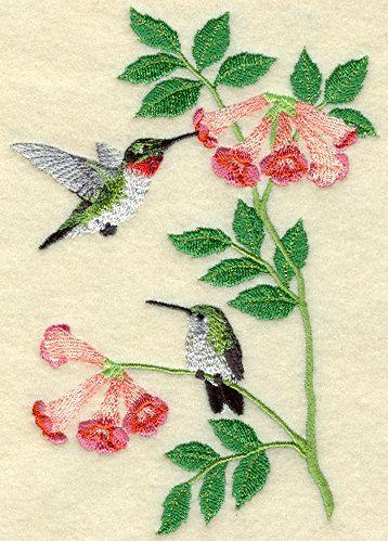 Picaflores colibríes y flores bordado paño por LindasEmbroideryShop