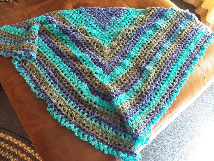 Free Crochet Patterns For Boucle Yarn : My first shawl. A great pattern for boucle yarn. I used ...