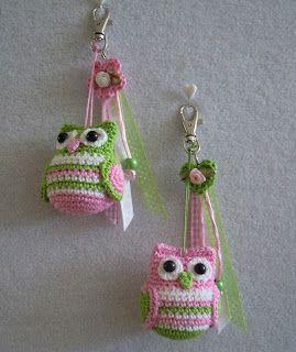 Chouette  /  Owls  crochet  /  porte-clefs