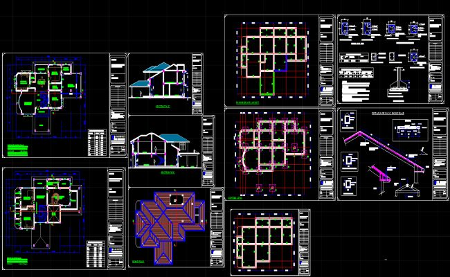 Bungalows Dwg Autocad Drawing Architecture Pinterest