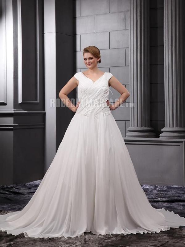 Robe de mariée de grande taille avec un col en V robe élégante avec ruches [#ROBE2013064] - robedumariage.com
