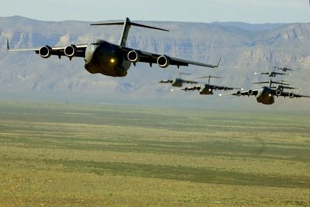 Boeing C-17 Globemaster III, a military aircraft utilised primarily by the Royal Air Force, United States Air Force, Royal Australian Air Force and the Indian Air Force.