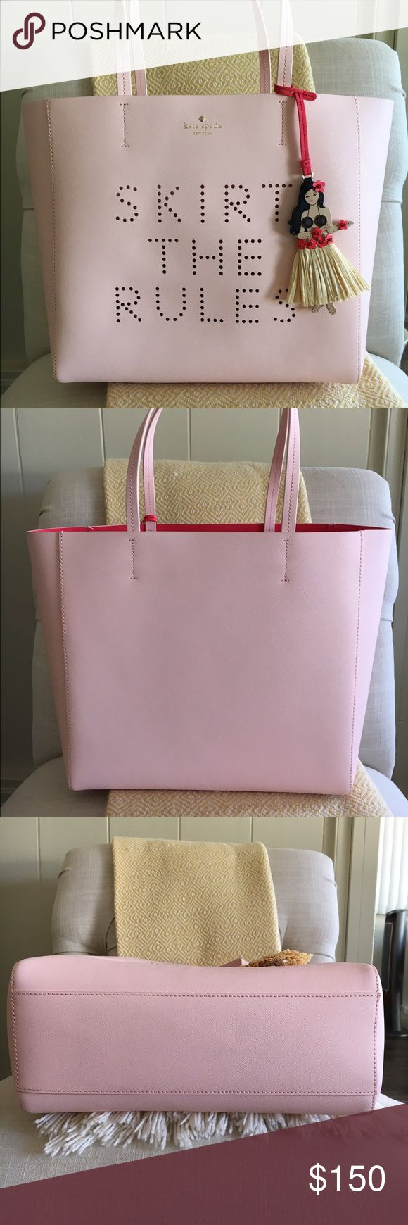 """Kate Spade Skirt The Rules Hallie tote Kate Spade Skirt The Rules Hallie tote in excellent used condition. A darling hula girl charm adorns a Saffiano leather tote featuring a perforated 'skirt the rules' at the front for a fun, modern update. A bold interior hue completes the chic summer look. Approximate size is 12 ½""""W x 12""""H x 4""""D and 8 ½"""" strap drop. No holds or trades please. kate spade Bags"""