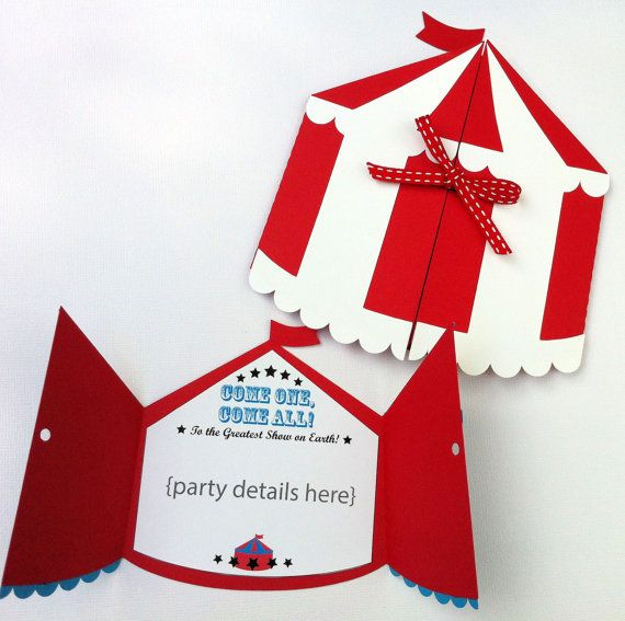 Circus Tent invitation folder. Circus, carnival or sideshow birthday party, baby shower. Customised details.