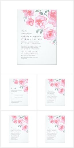 Pink Roses Watercolor Wedding Set Beautiful watercolor hand painted roses and small leaves wedding suite design with elegant and romantic feel. Great for summer weddings!