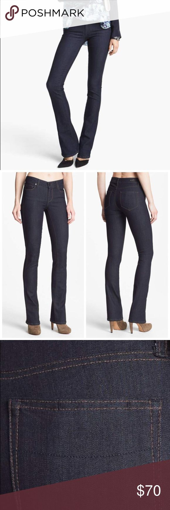 """PAIGE Denim 'Manhattan' Baby Bootcut Jeans Denim 'Manhattan' Baby Bootcut Jeans PAIGE 29 with a 33 1/2"""" inseam A rich dark wash and tonal stitching polish a pair of sleek jeans accentuated with classic bootcut legs. 33 1/2"""" inseam; 17 1/2"""" leg opening; 8 1/4"""" front rise; 12"""" back rise. Zip fly with button closure. Five-pocket style. Dark dye may transfer to lighter materials. Cotton/polyester/spandex; machine wash. By Paige Denim; made in the USA of imported fabric. PAIGE Jeans Boot Cut"""