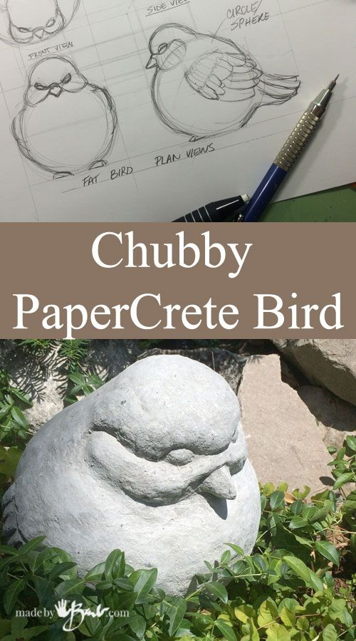 Chubby PaperCrete Bird Feature Madebybarb