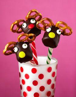 Marshmallow, Pretzel, Reindeer on a Peppermint Stick