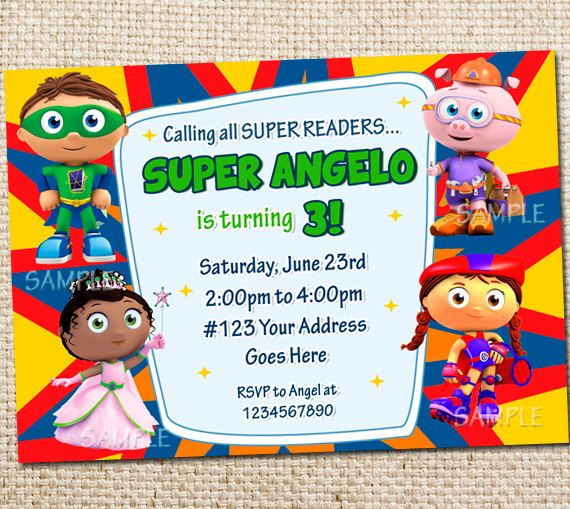 Super Why Birthday Party Invitation  Printable by WittyParties, $8.00