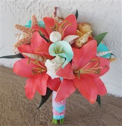 Natural Touch Coral and Tiffany Seashell Bouquet Lynn LOVE it without the shells :) and burlap/lace around handle