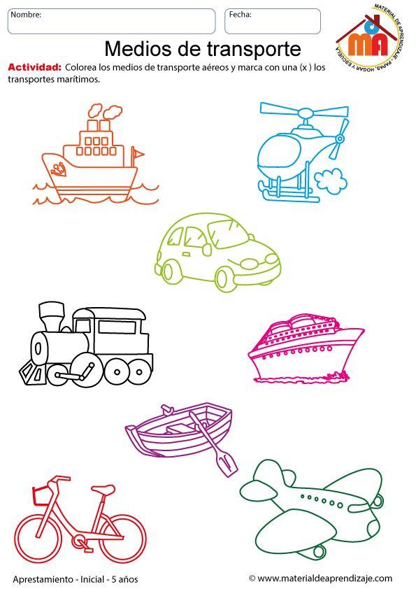 Medios de transporte: Aprestamiento 5 años