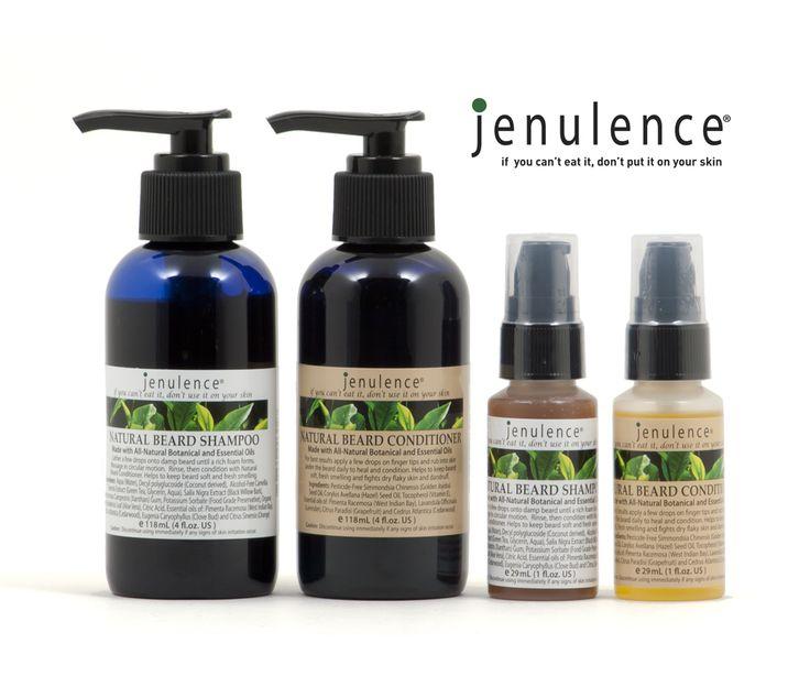 Jenulence all-natural beard conditioner and beard shampoo.