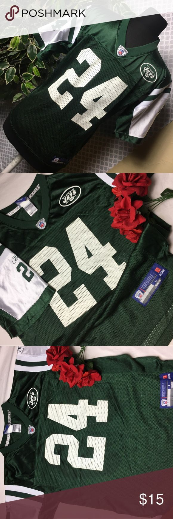 New York jets Revis jersey Reebok on field Excellent condition. No flaws worn twice. Boys 14-16 Reebok Shirts & Tops