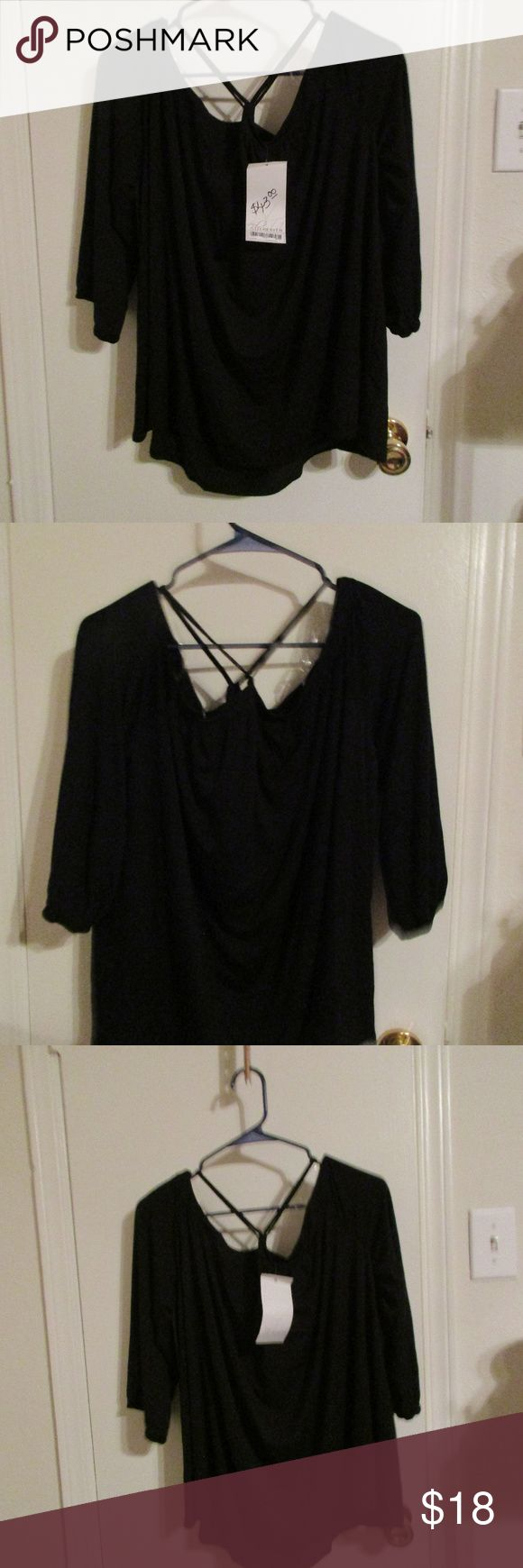 Blu Heaven black blouse off shoulder NWT Fits L-1X Blu Heaven black peasant blouse off shoulder NWT Sz L, this is off shoulder and fits generously, could fit an XL.  Measurement at armpits from side to side is 22 inches. Blu Heaven Tops Blouses