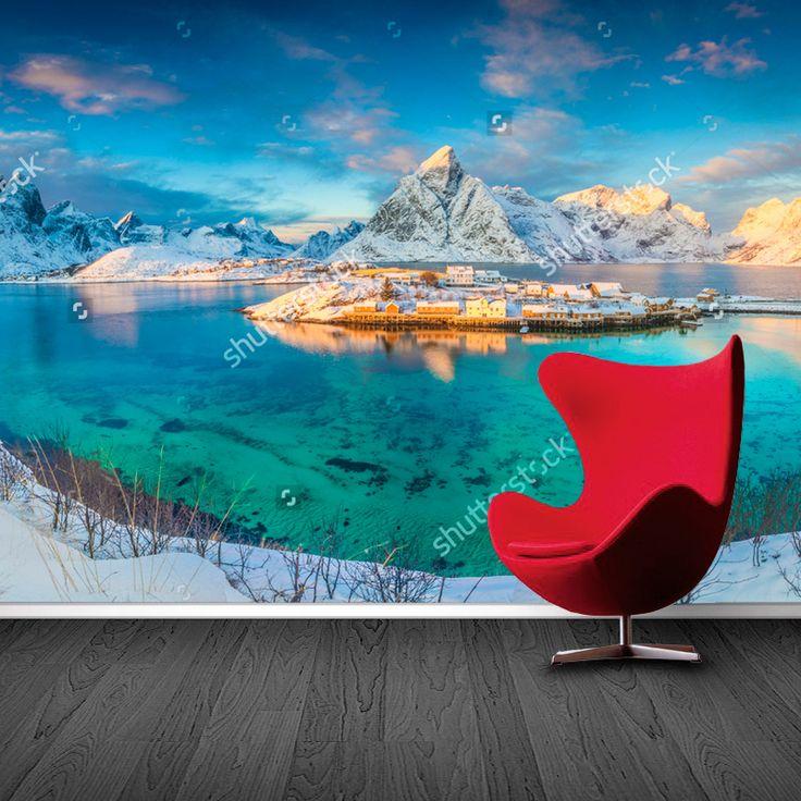 Fotobehang Noors landschap | Maak het jezelf eenvoudig en bestel fotobehang voorzien van een lijmlaag bij YouPri om zo gemakkelijk jouw woonruimte een nieuwe stijl te geven. Voor het behangen heb je alleen water nodig!   #behang #fotobehang #print #opdruk #afbeelding #diy #behangen #landschap #noorwegen #sneeuw #ijs