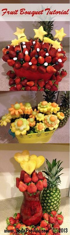 Awesome fruit bouquet tutorial! Three different bouquets you can make! Check it out at www.SodaPopAve.com