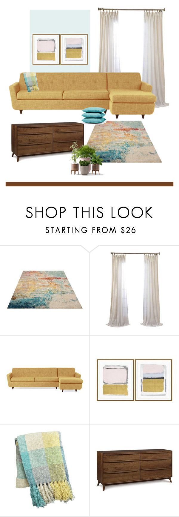 """Living Space"" by patricia-dimmick on Polyvore featuring interior, interiors, interior design, home, home decor, interior decorating, Joybird, Williams-Sonoma, Pier 1 Imports and Brown Jordan"