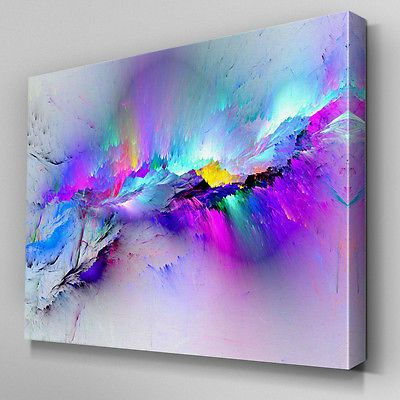 AB968 Modern multicoloured blue Canvas Wall Art Abstract Picture Large Print | eBay