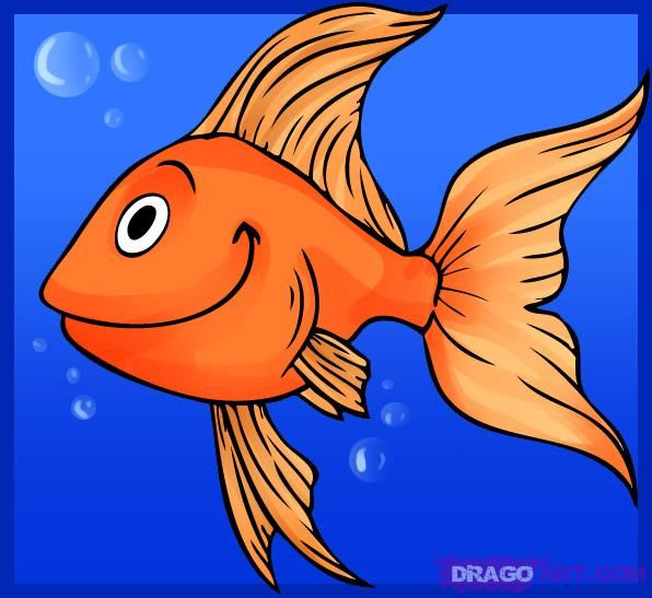 How to draw a cartoon goldfish cartoon animals for Cartoon fish drawing