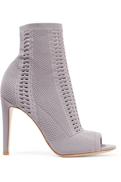 Gianvito Rossi - Vires 105 Peep-toe Perforated Stretch-knit Ankle Boots - Dark gray
